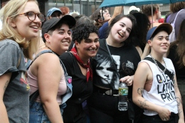 Friends take a selfie at The Dyke March.