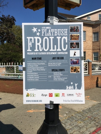 A sign advertises the annual Flatbush Frolic.