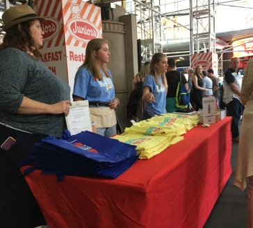 Several women in Waitress-themed T-shirts worked the 33rd annual Broadway Cares event.