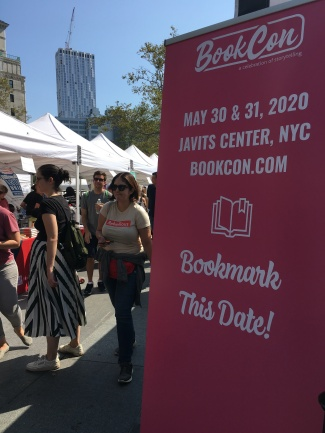 Vendors advertised at the Brooklyn Book Festival.